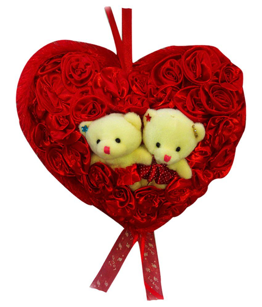 pick play red soft fabric soft teddy bear couple in rose heart