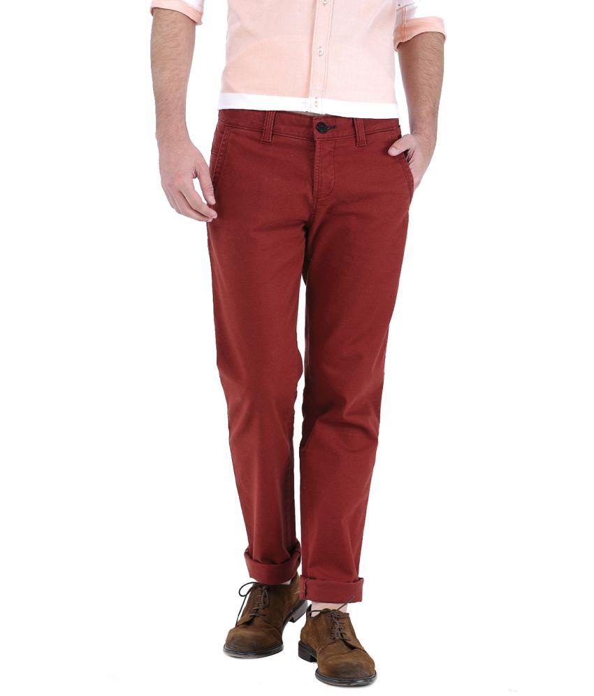 Basics Red Cotton Blend Chinos