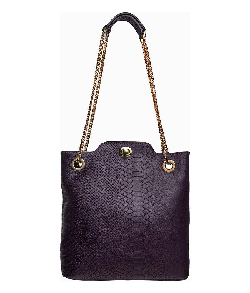 Hidesign Sb Alya 02 Aubergine Leather Shoulder Bag