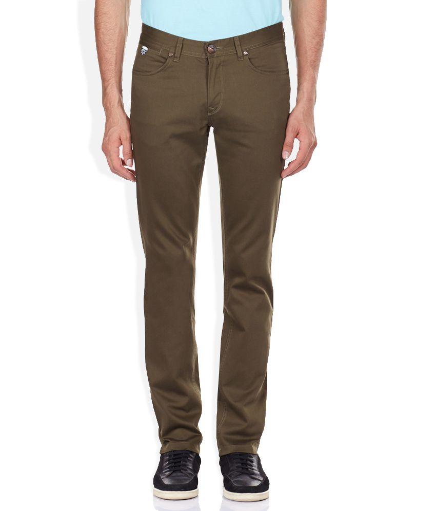 John Players Green Slim Fit Trousers