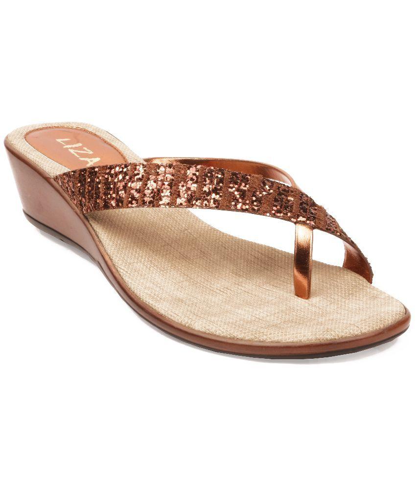 Liza Brown Pu Open Toe Daily Wear Heeled Slip-on