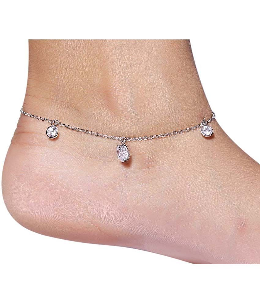 Much More Exclusive Bollywood Silver Plated Crystal Stone Fashion Single Anklet-Payal For Women Jewellery