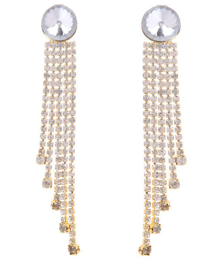 GoldNera Silver Gemstone Geet Hanging Earrings