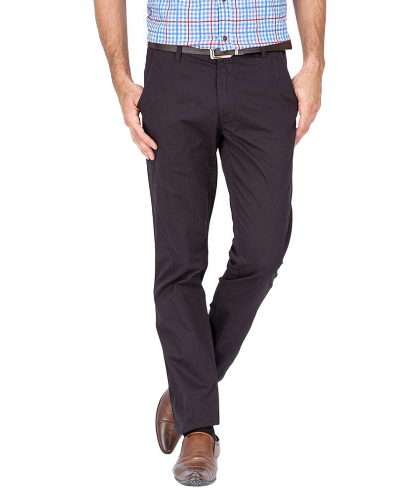 Urban Nomad Classic Brown Cotton Trousers for Men