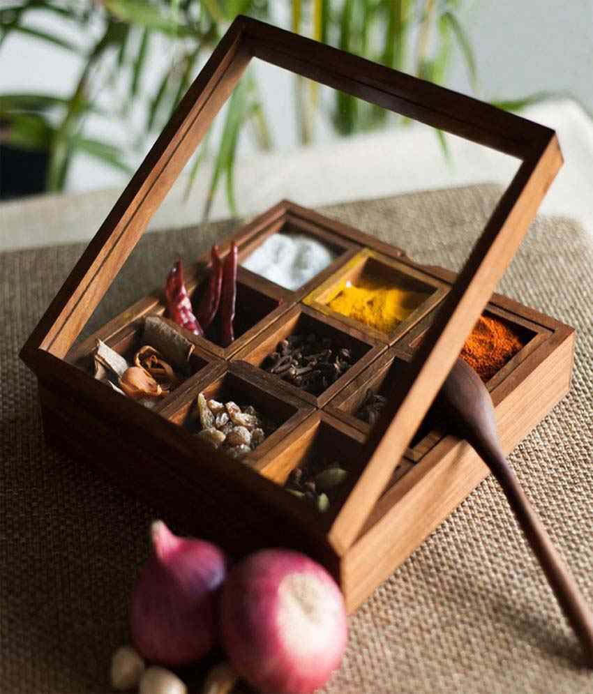 Skywoods Wooden Spice Box With 9 Container And 1 Spoon