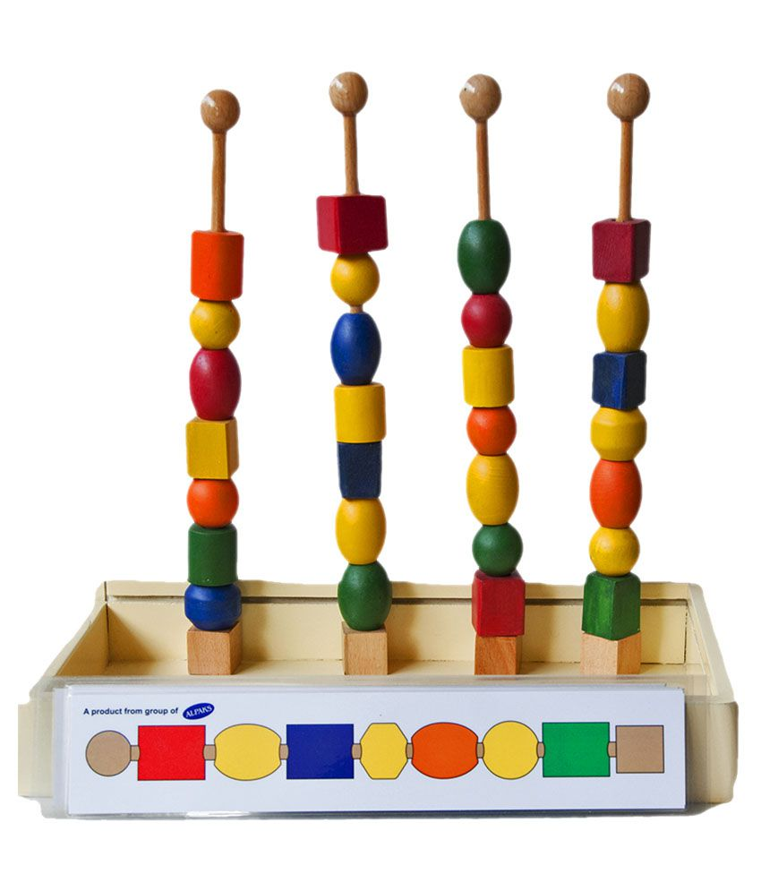 Alpaks Multicolour Wooden Wooden Stick N Bead With Pattern Cards