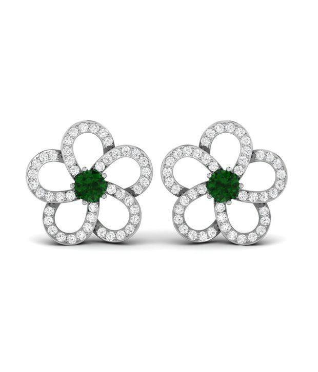 Ciemme Floral Shape Emerald Women's CZ Gemstone Earrings in 925 Sterling Silver