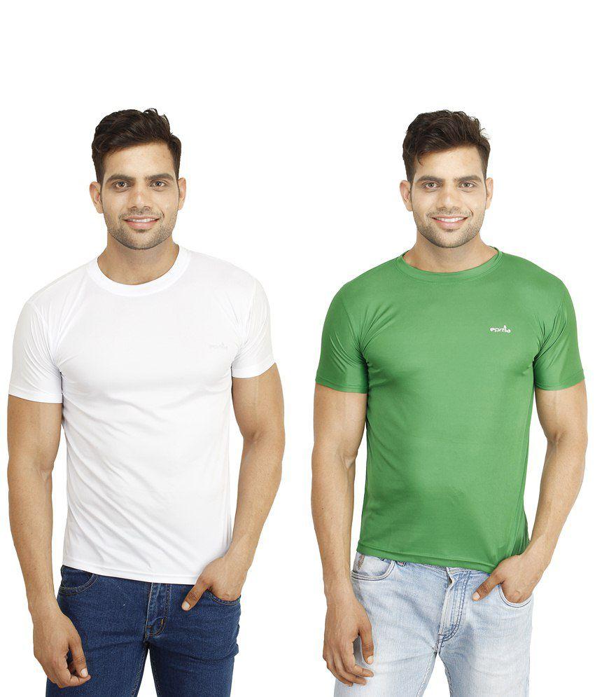 Eprilla Pack of 2 White & Green T Shirts for Men
