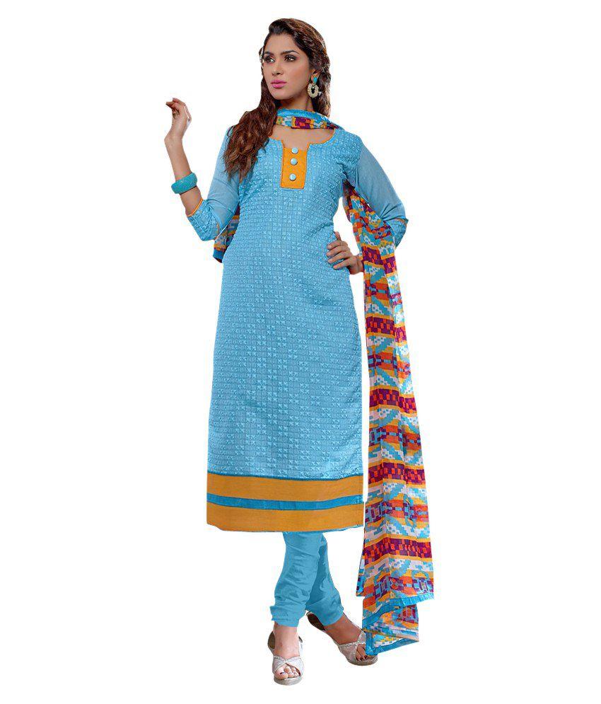Khushali Blue Chanderi Regular Unstitched  Dress Material