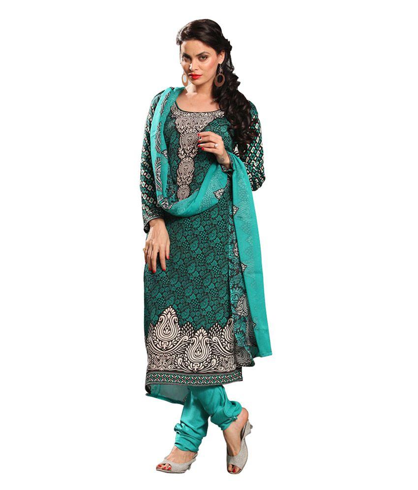 Khushali Green Crepe  Regular Unstitched Dress Material