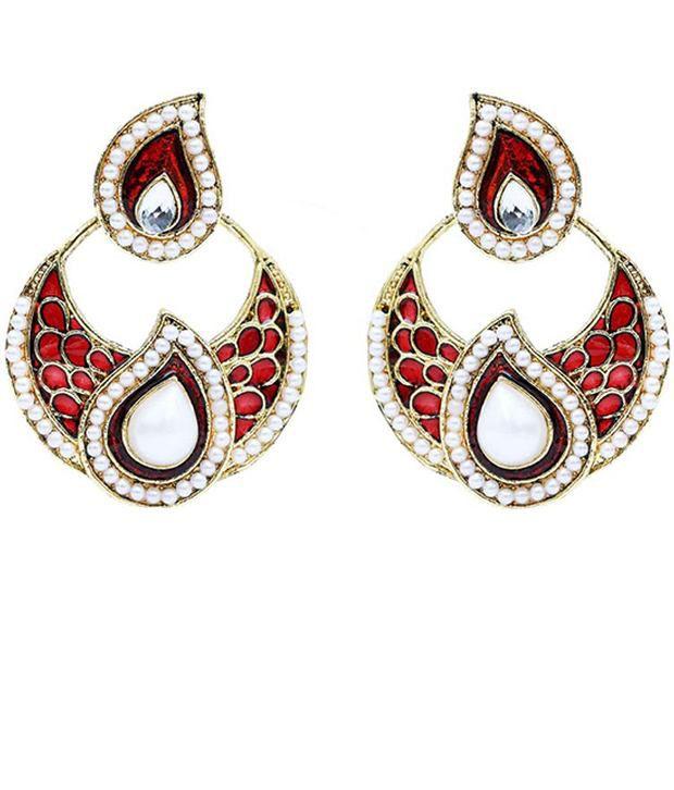 Forever Carat Red Alloy Colour Spark Earrings
