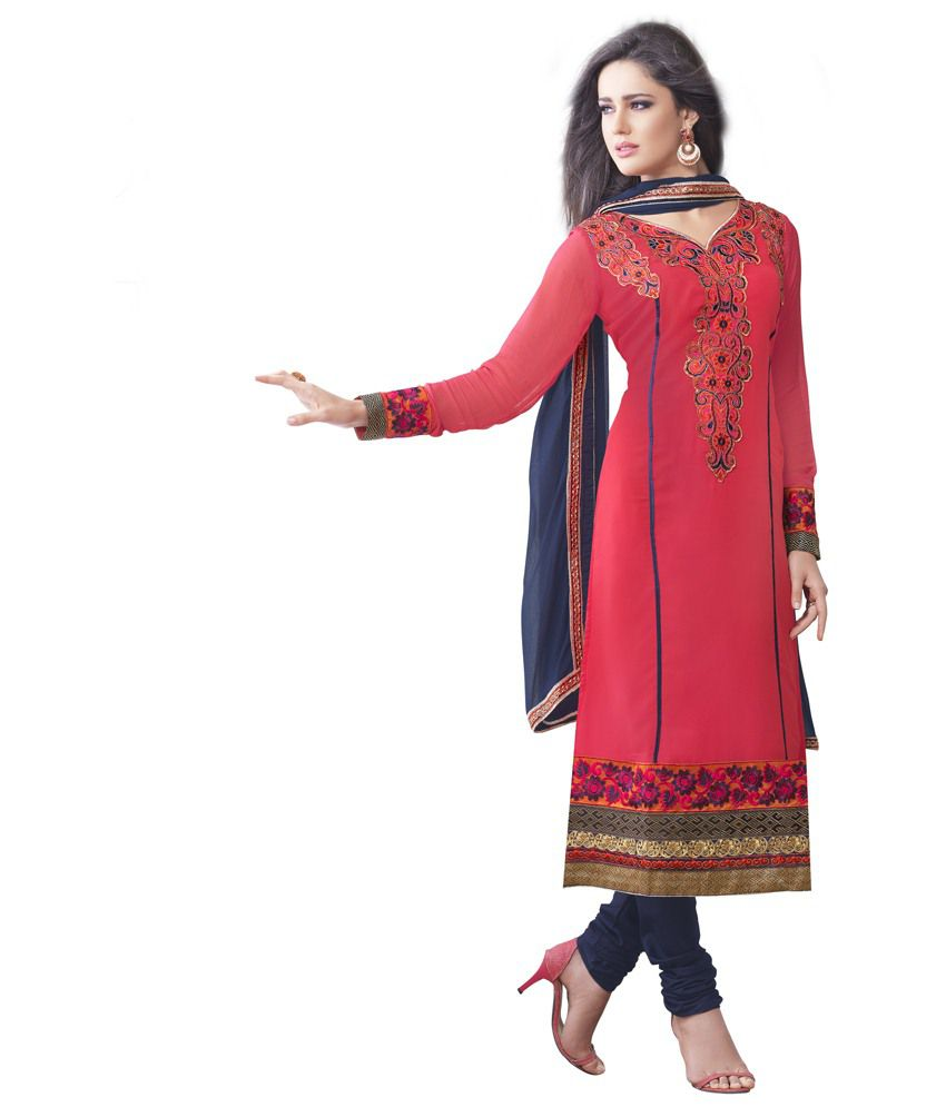 Velvetic Tomato Red And Pink Color Georgette Dress Material Semi Sched