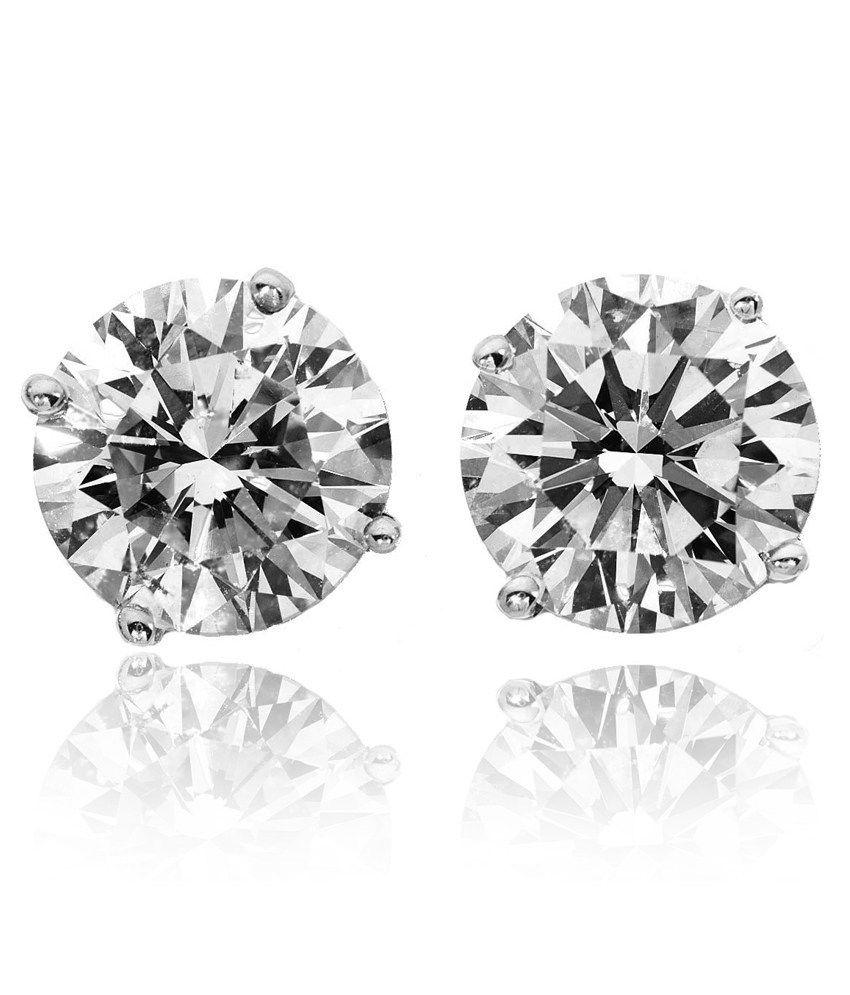 Be You 92.5% Sterling Silver Round CZ Solitaire Stud Earrings