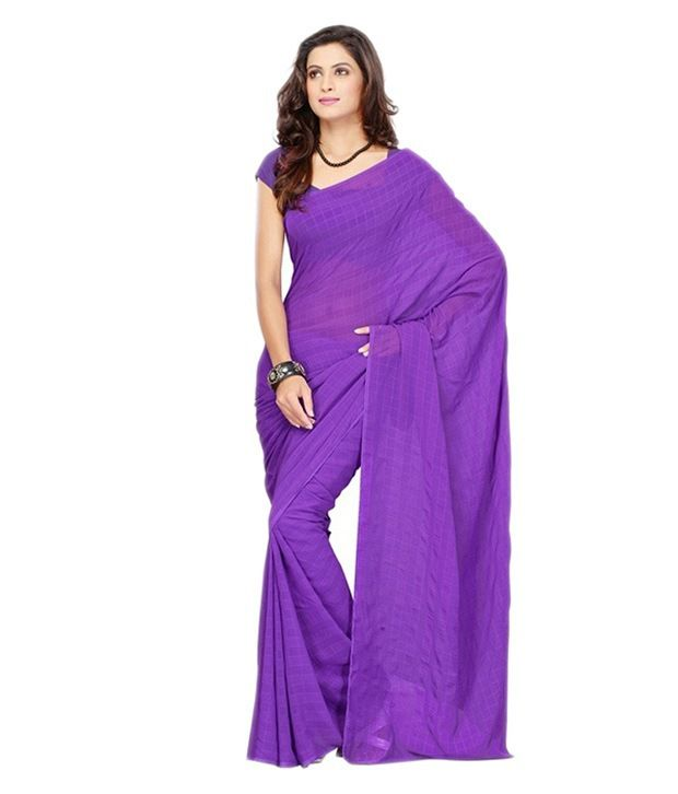 Shangrila Lifestyle Purple Faux Georgette Saree