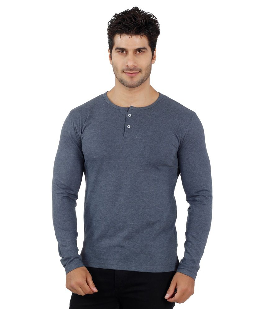 Eetee Gray Cotton Full Sleeves Round Neck
