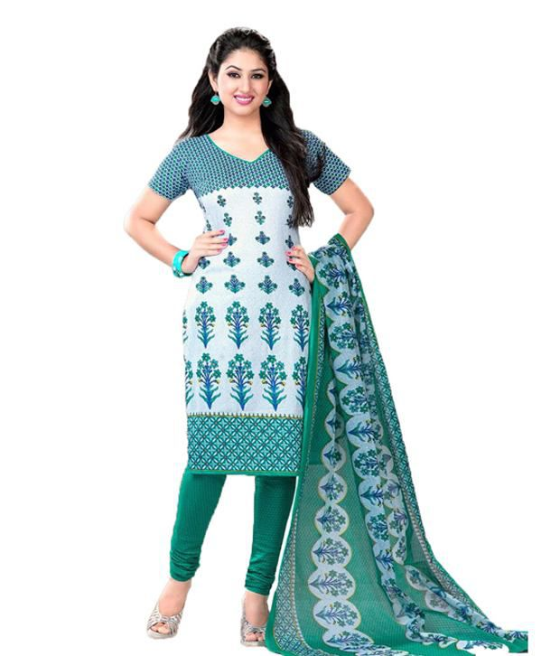 Indian Wholesale Clothing Green Cotton Dress Material