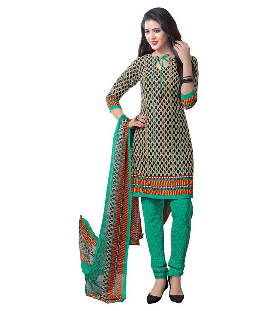 Khoobee Green Art Crepe Unstitched Fusion Dress Material