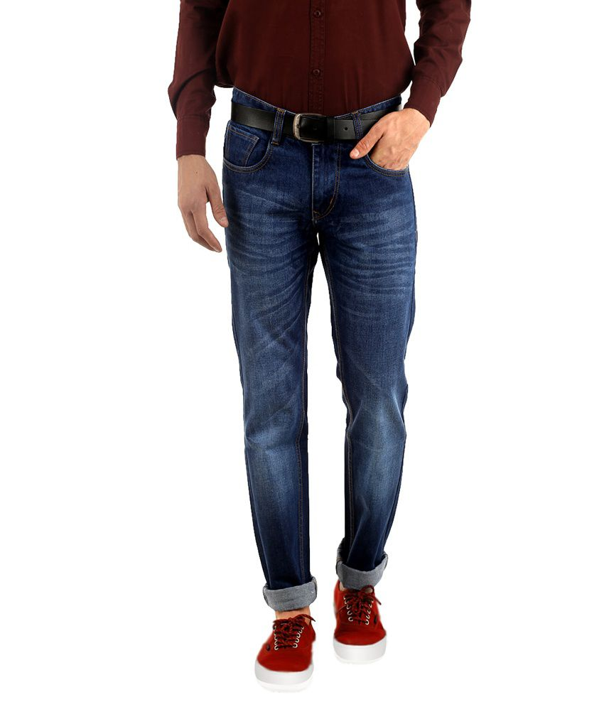 Naughty Walts Blue Cotton Regular Fit Faded Jeans