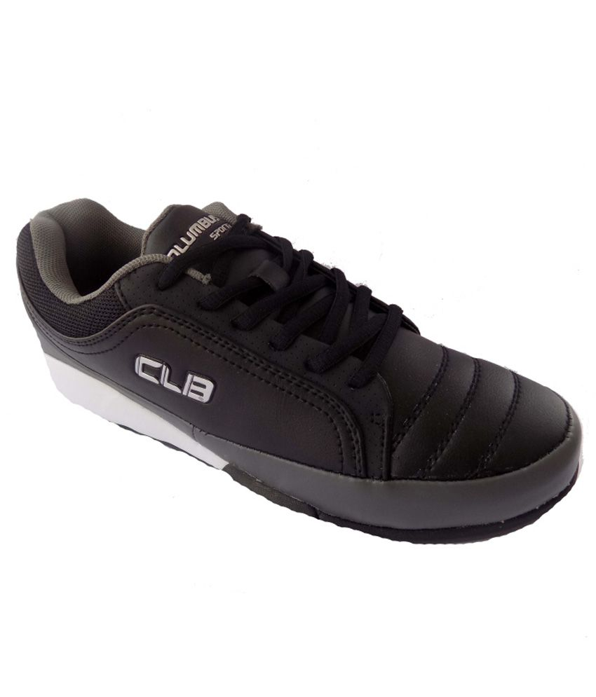Columbus Black Synthetic Leather Walking Shoes