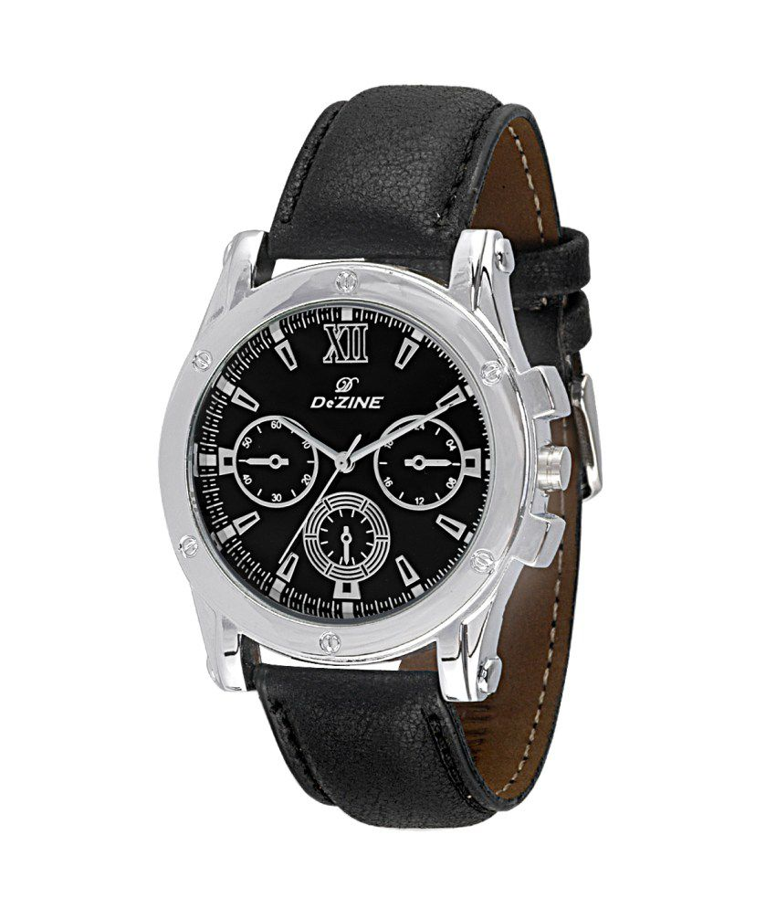 Dezine Black Black Synthetic Leather Casual Watches For Men