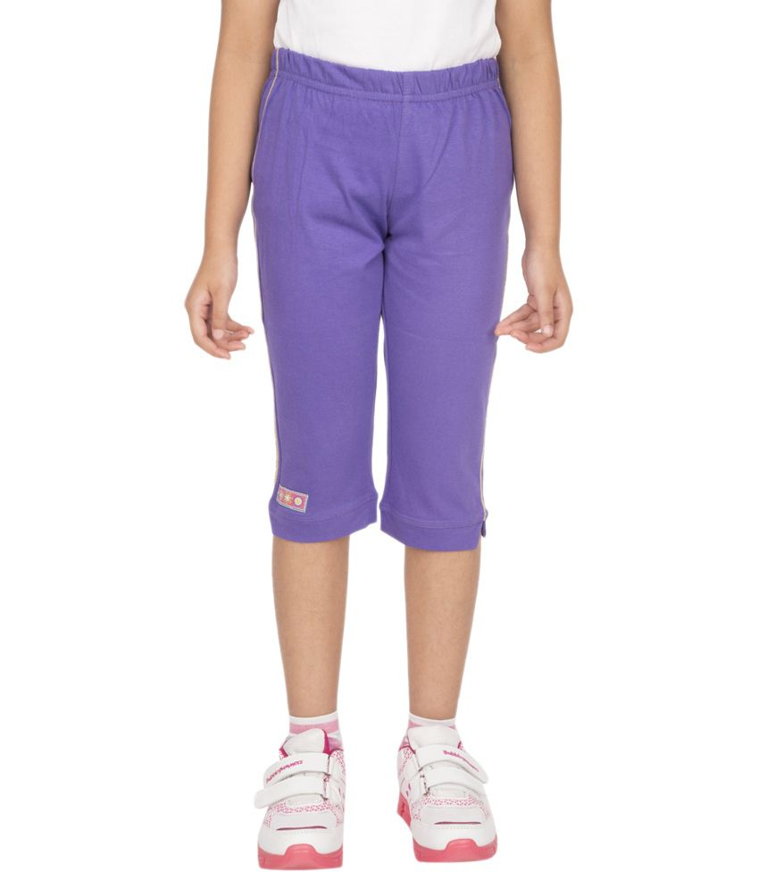 Ocean Race Purple Cotton Solids Capri
