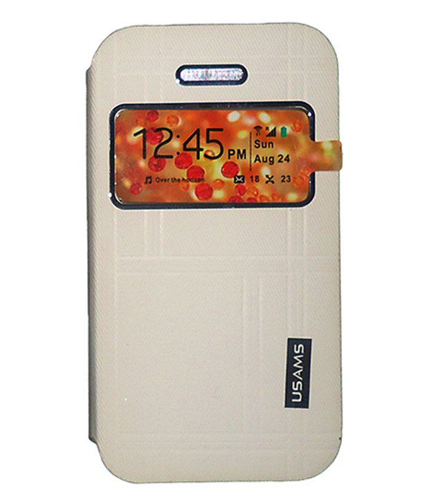 buy popular 9d1a8 0996a Usams Flip Cover for Sony Xperia T2 Ultra Dual D5322 -White