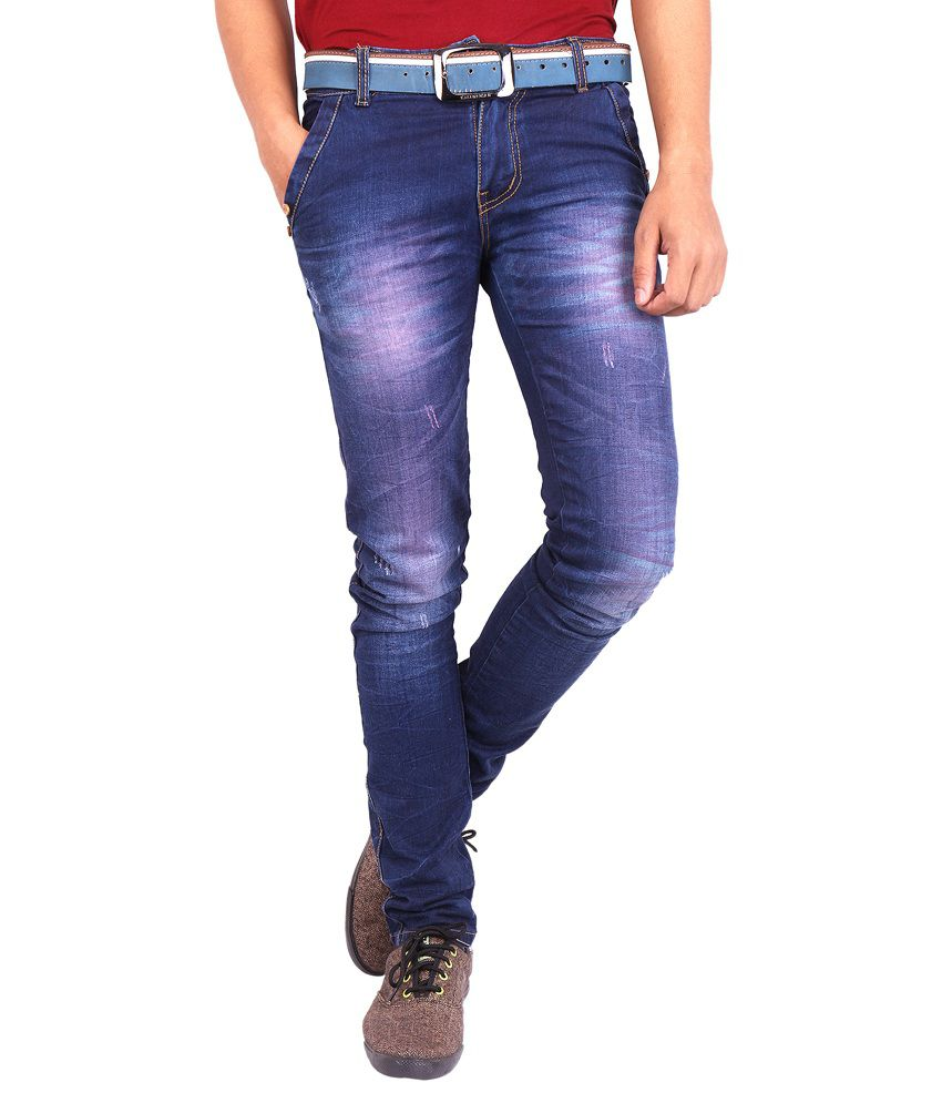 Wat's Upp!!! Blue Cotton Regular Fit Denim Strech Jeans