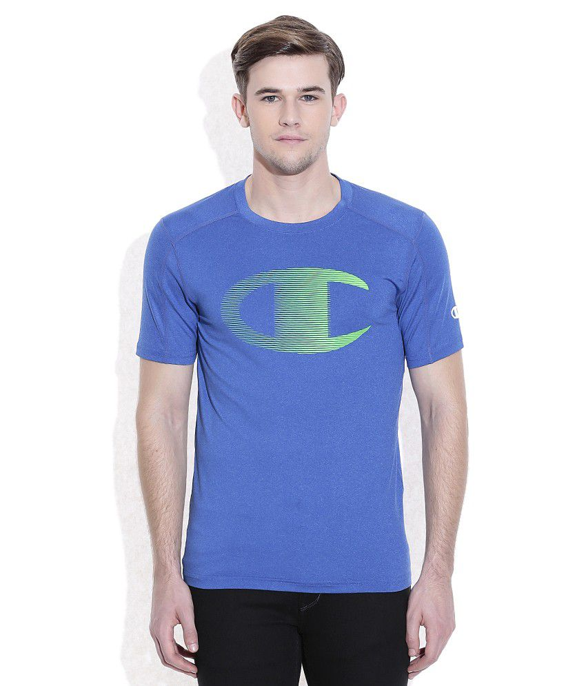 Champion Blue Round Neck T-Shirt