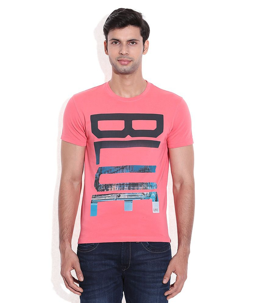 Lee Pink Printed Round Neck T-Shirt