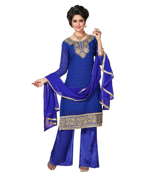 Parisha Blue Chanderi Single Dress Material