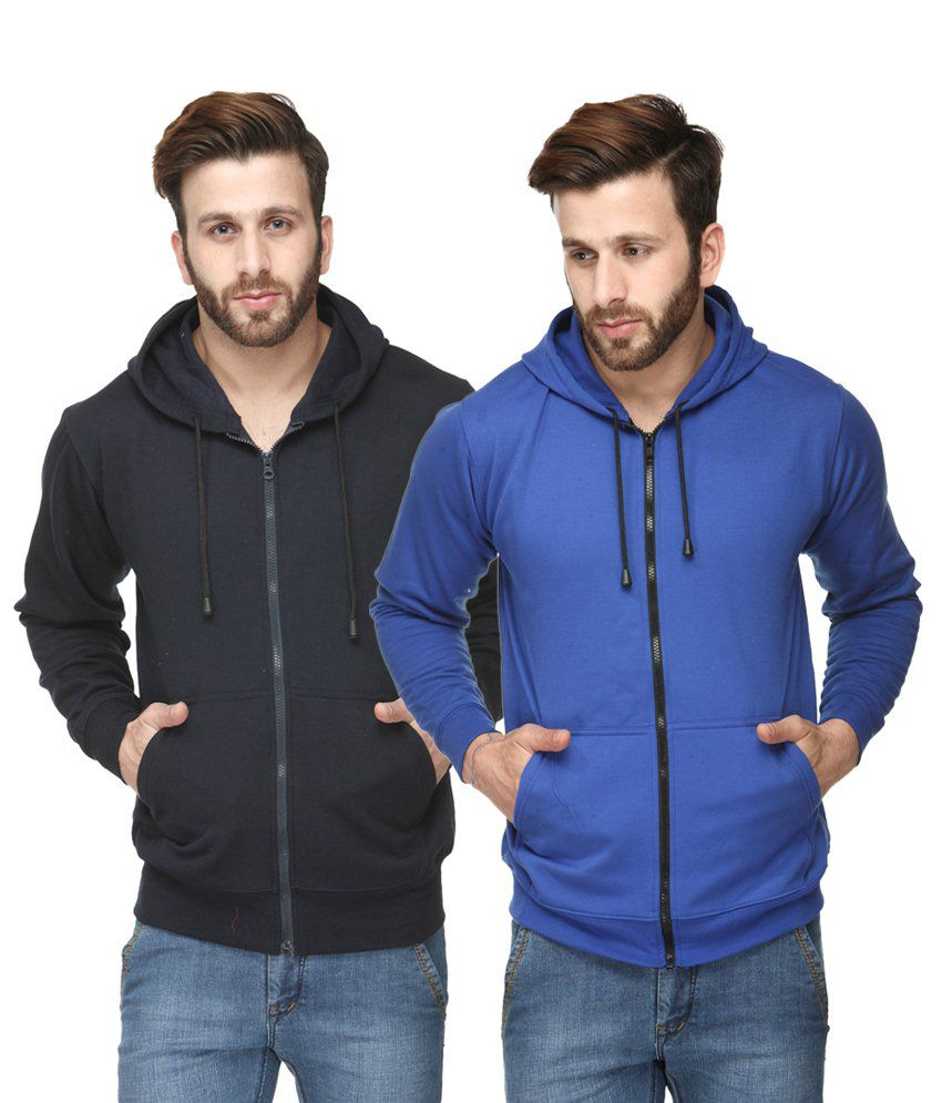 Scott International Breathtaking Pack of 2 Black & Royal Blue Hooded Sweatshirts with Zip for Men