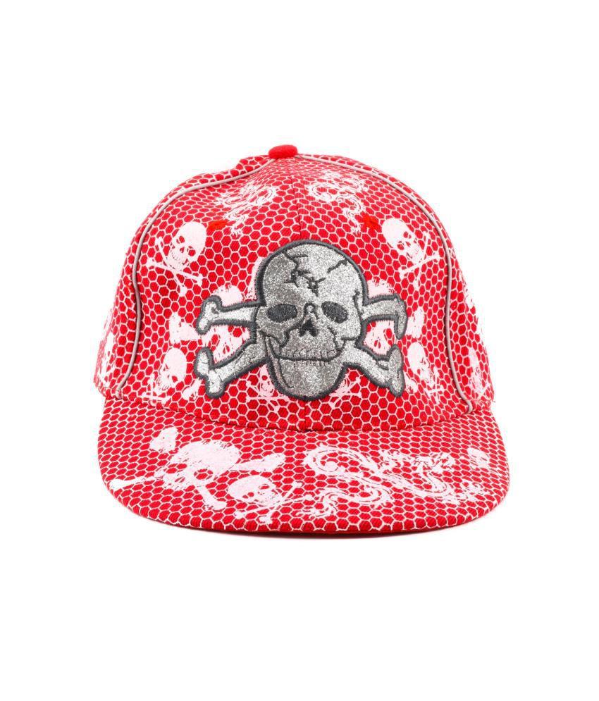 Tiekart Red Cotton Cap For Men