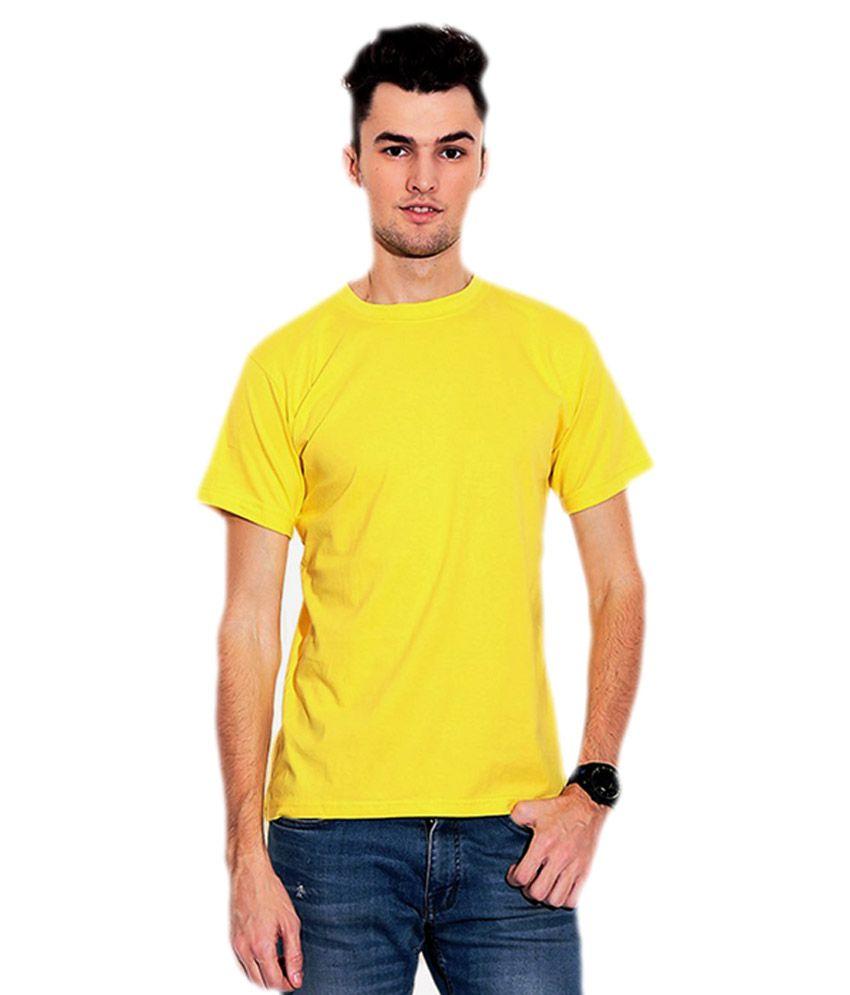 Yolande Yellow Cotton Round Neck T-shirt