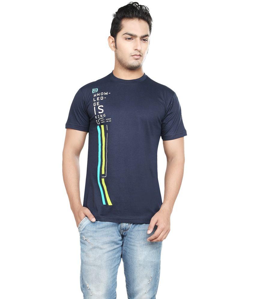 Afylish Printed Navy Blue Round Neck Mens T-Shirt - Supima Cotton
