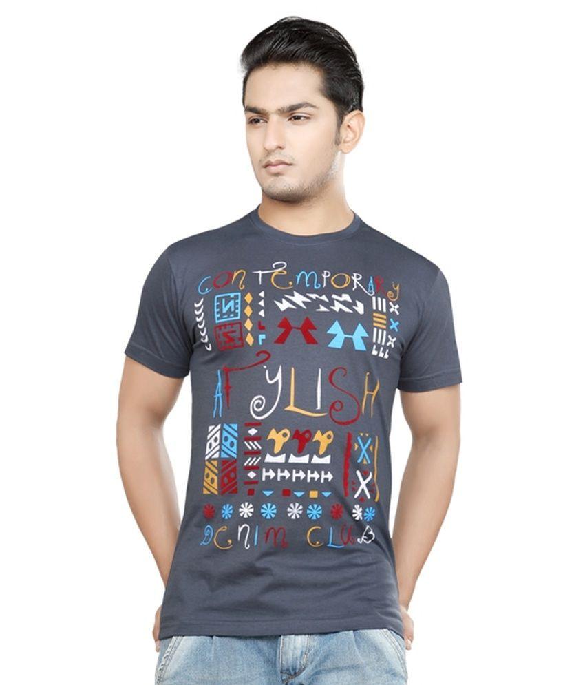 Afylish Printed Steel Grey Round Neck Mens T-Shirt - Supima Cotton