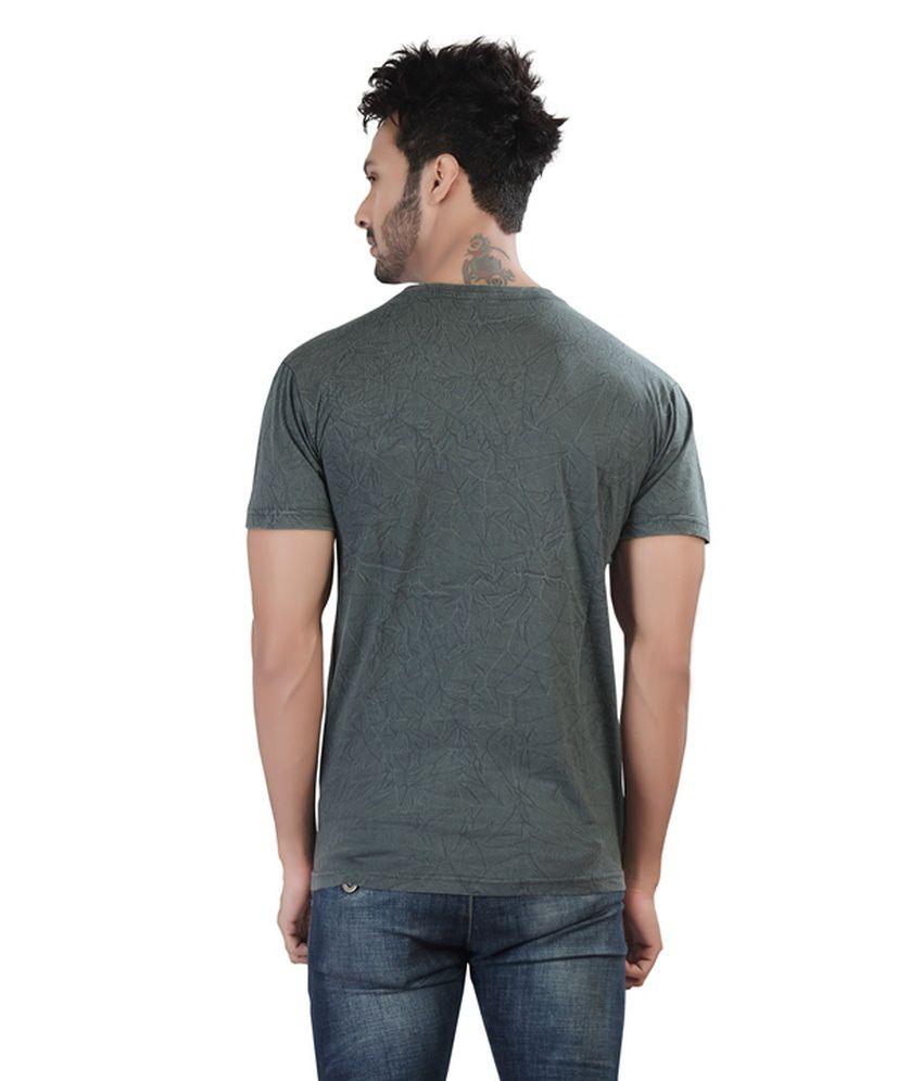 9a03298f8 ... Afylish Steel Grey Round Neck Mens T-Shirt With Acid Wash - Supima  Cotton ...