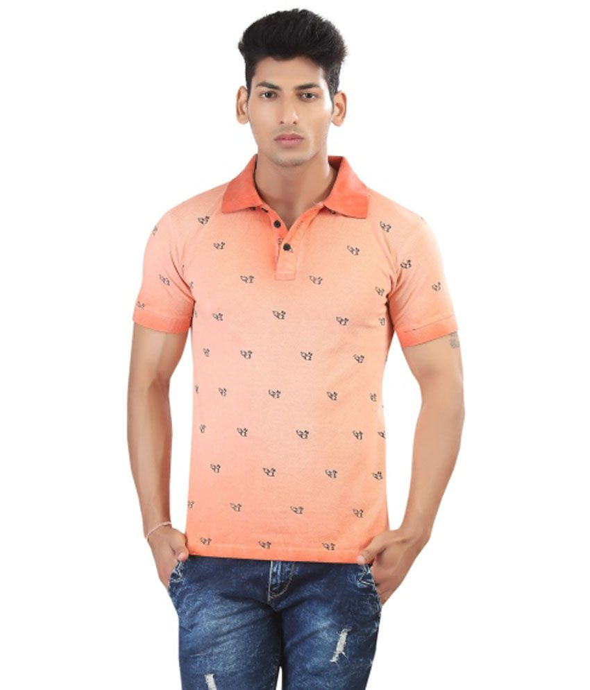 49e70c23185c3 Afylish Orange Polo Mens T-Shirt With All Over Print- Supima Cotton - Buy  Afylish Orange Polo Mens T-Shirt With All Over Print- Supima Cotton Online  at Low ...