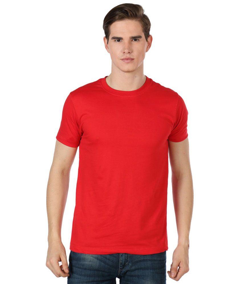 Bajo Red Cotton Half Sleeves Round Neck T-shirt
