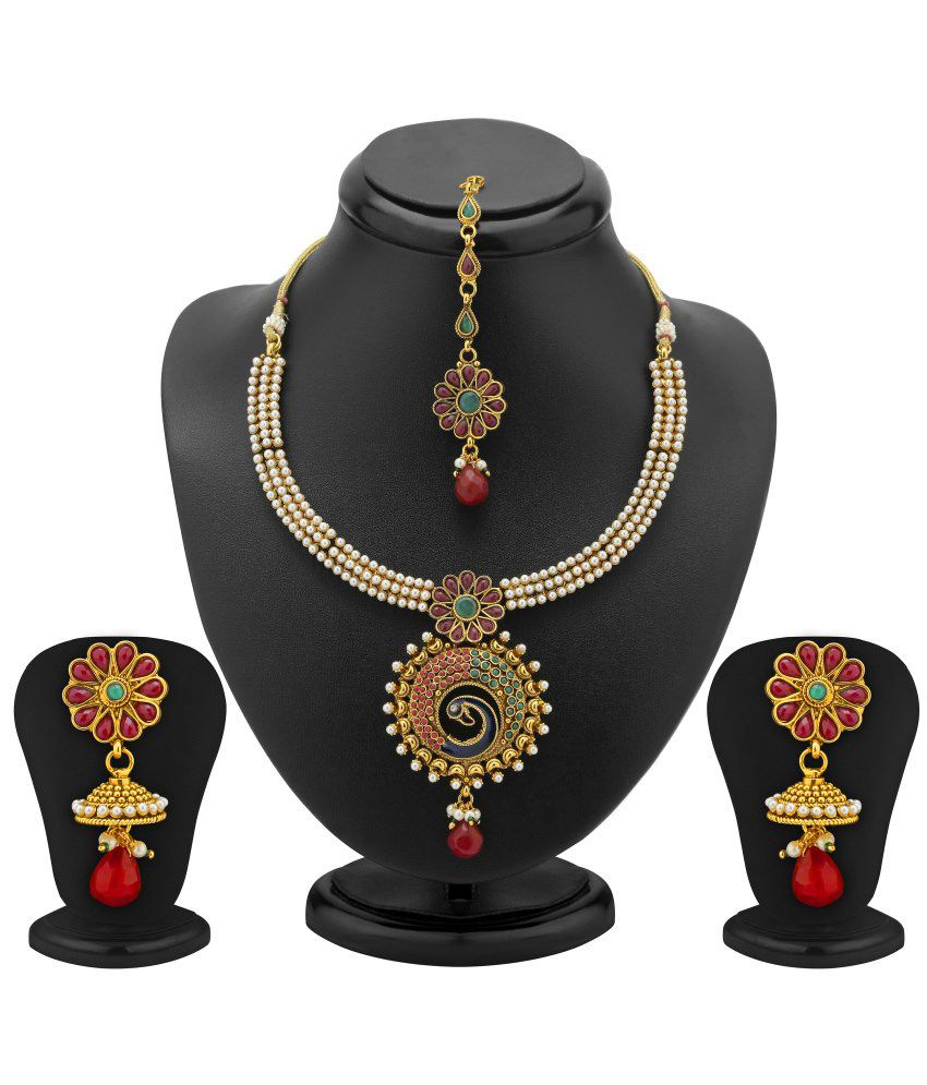 Sukkhi- Kritika Kamra Traditionally Gold Plated Peacock Antique Necklace Set