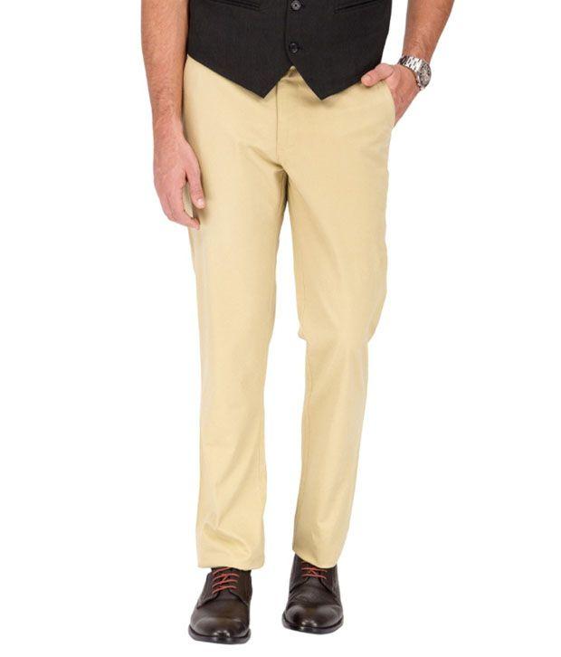Image Collection Beige Cotton Regular Formal Trouser