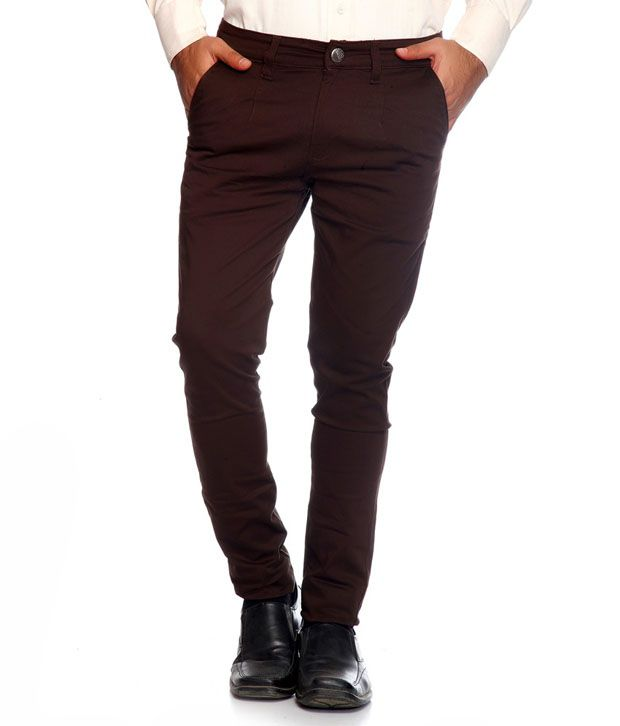 Image Collection Brown Cotton Regular Formal Trouser