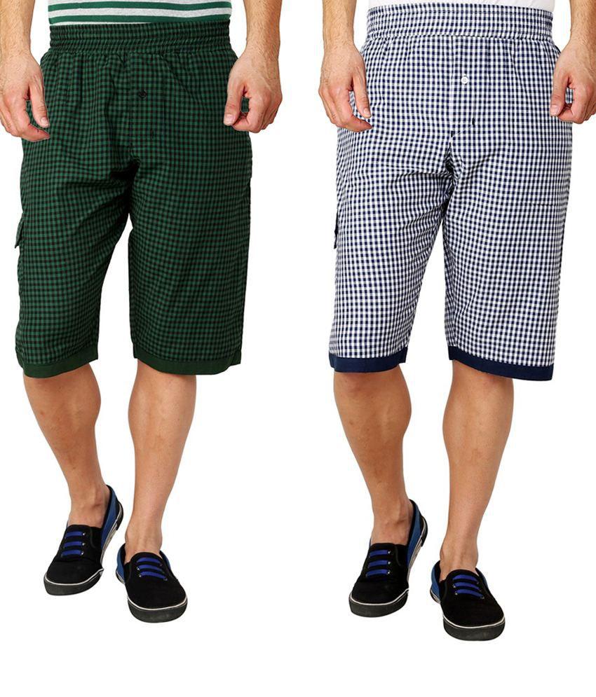 Lemon & Vodka Multicolor Cotton Check 3/4Ths Shorts - Pack Of 2