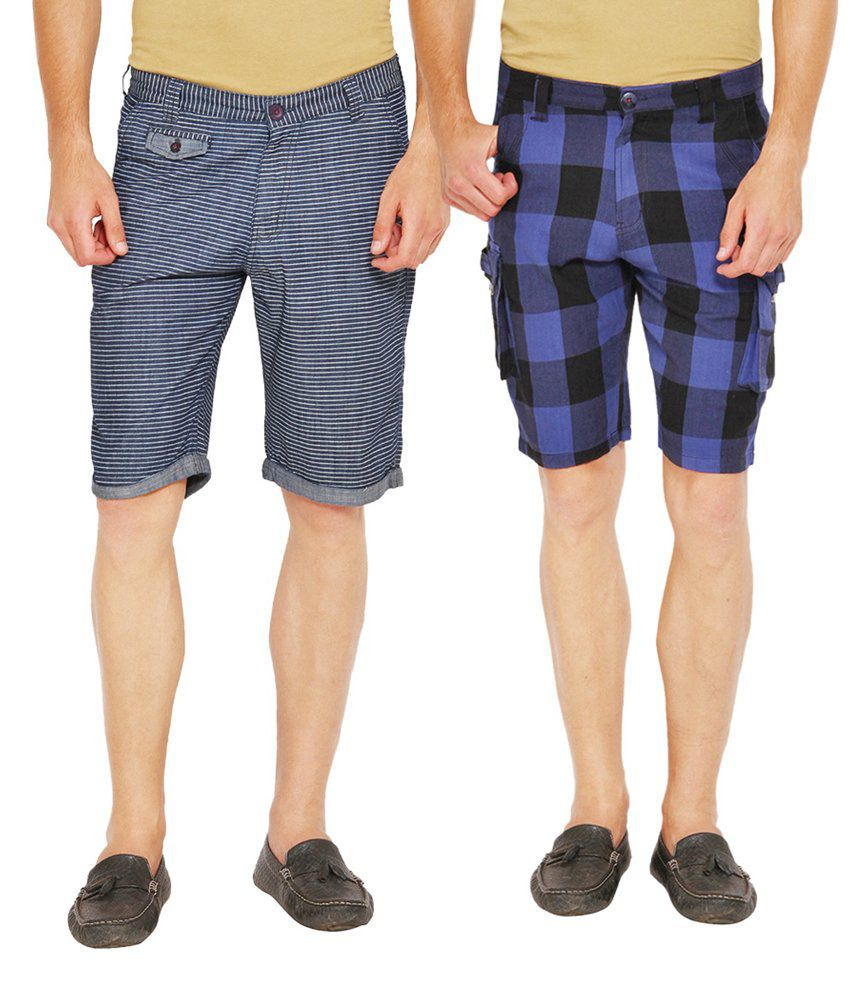 Wajbee Navy and Blue Cotton Check Shorts - Pack of 2