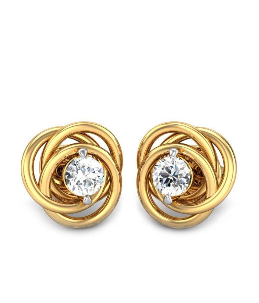 Candere Ruchita Yellow Gold 14K Diamond Earrings