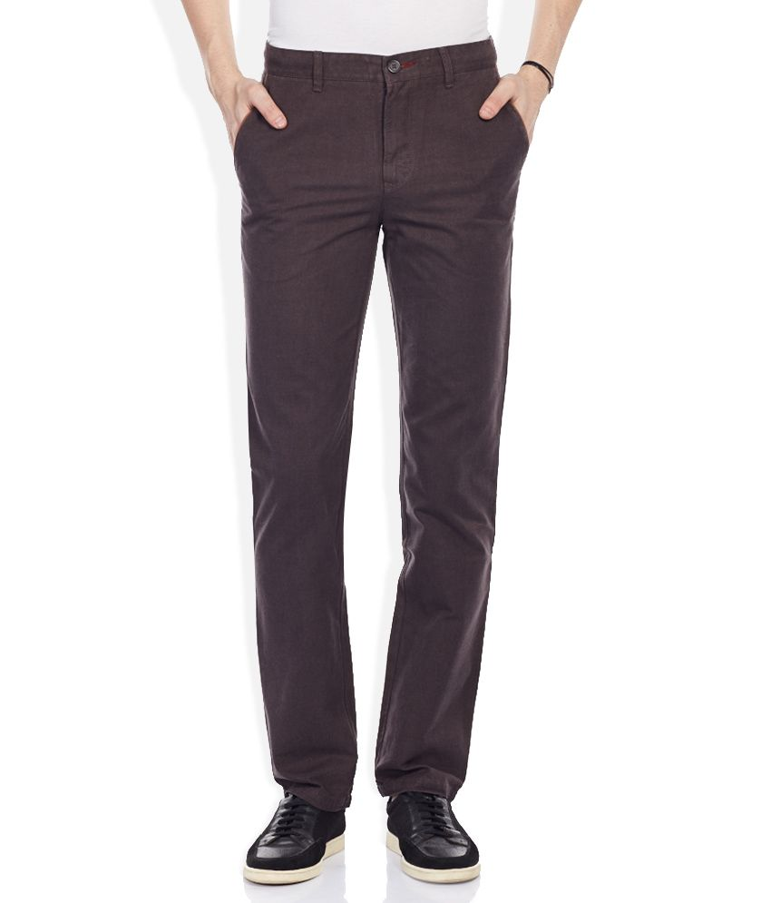 Wills Lifestyle Brown Slim Fit Trousers