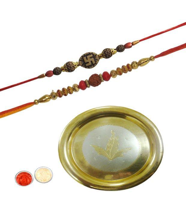 A1 Rakhi Eye-Catching Gold Plated Rakhi Thali with Two Rakhis