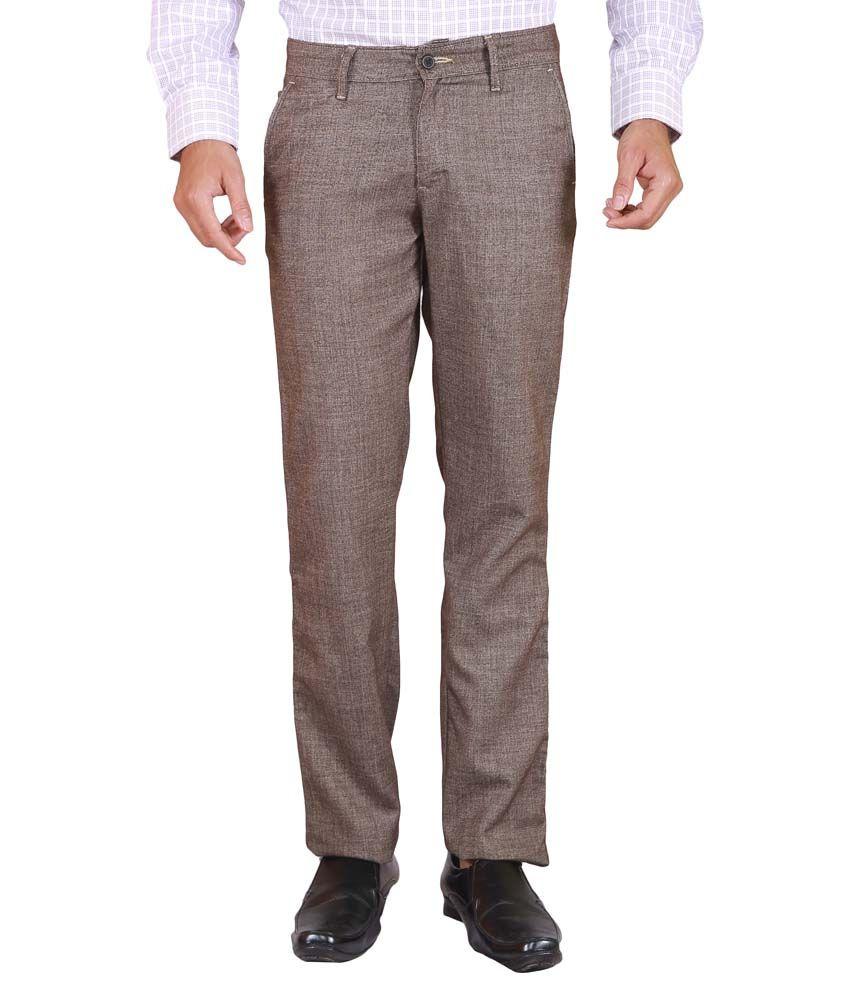 Elfried Slim Fit Brown Cotton Trouser