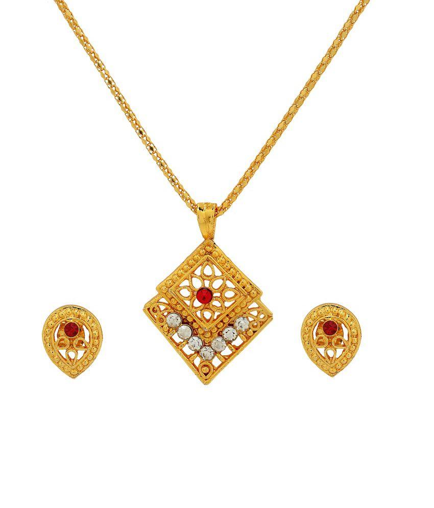 G R Jewellers Gold Brass Sun Art Necklace Set