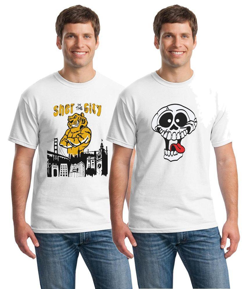 Inkvink Clothing Voguish Pack of 2 White Comic T Shirts for Men