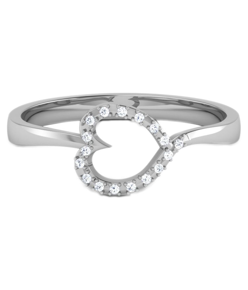 Kataria Jewellers Valentine'S Day Hearts Ladies Ring 92.5 Bis Hallmarked Sterling Silver With Real Certified Diamonds